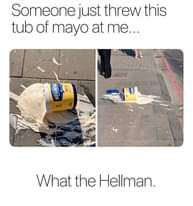 Image may contain: text that says 'Someone just threw this tub of mayo at me... HELLMAN REAL REAL What the Hellman.'