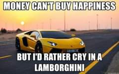 Image may contain: meme, text that says 'MONEY CAN'T BUY HAPPINESS BUT I'D RATHER CRY IN A LAMBORGHINI'