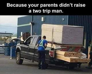 Image may contain: text that says 'Because your parents didn't raise a two trip man.'